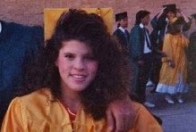 yvonne with big hair in high school