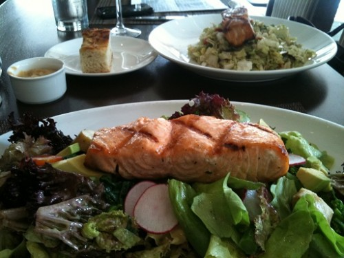 salmon over fresh greens