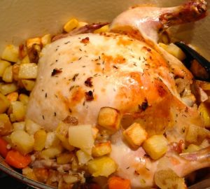 Roast Chicken with Potatoes and Rainbow Carrots