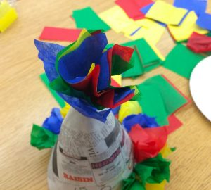 Decorating cone for piñata (photo by Yvonne Condes)