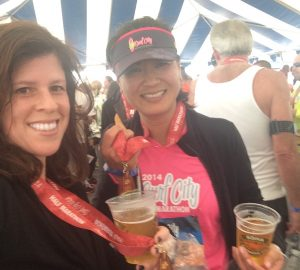Yvonne Condes and Jae Wu at Surf City Marathon 2014