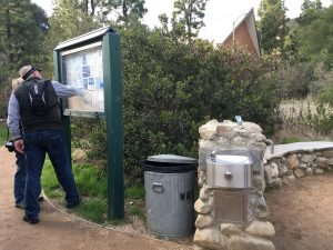 Bathrooms and drinking fountains at the trailhead of Los Leones Canyon