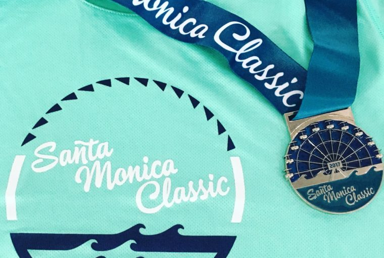 The shirt and medal from the Santa Monica Classic 2017