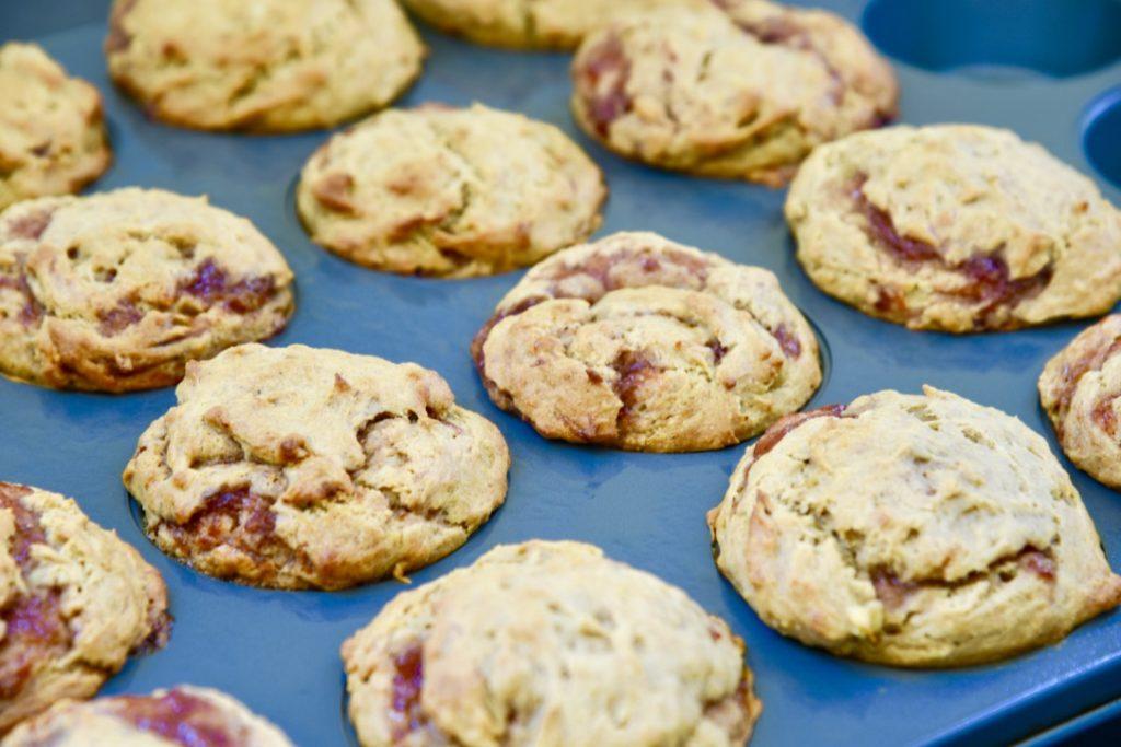 Gluten Free Banana Peanut Butter & Jelly Muffins. #glutenfree #peanutbuttermuffins #glutenfreemuffins #quarantinebaking